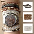 pearl brown golden crystal beads fashion 5 wrap bracelet