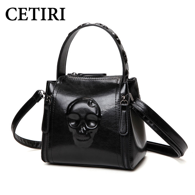 Skull Bag for Women Handbag Fashion Ladies Shoulder pu Leather Handbags Small Tote Vintage Women Black Famous Brand Women Bags women fashion tassel pu leather handbag shoulder bag small tote ladies purse comfystyle