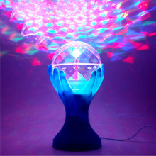 1pcs LED Auto Rotating Stage Light Palm Crystal Magic Ball Mini RGB Stage Lighting Effect Lamp Party Disco Club DJ Light
