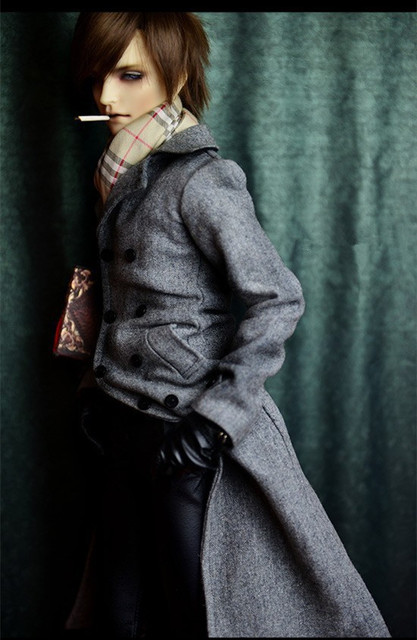 BJD Handsome Smoke Gray Double-Breasted Woolen Coat for 1/4 MSD, 1/3 SD, SD17 Uncle Doll Clothes CMB2