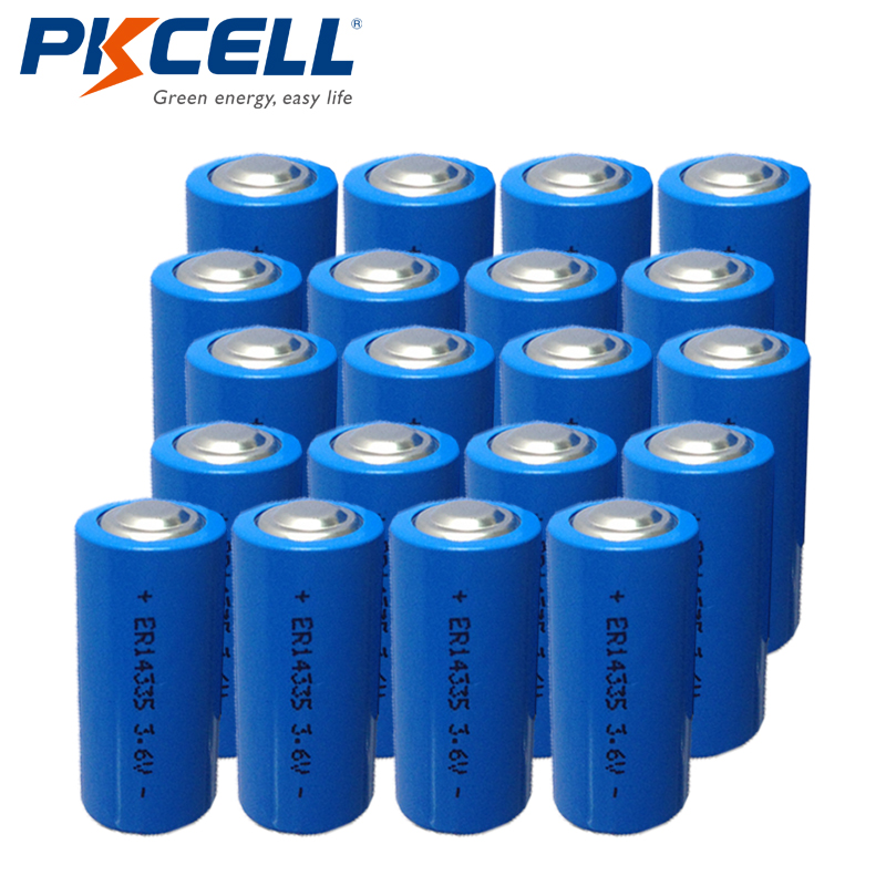 PKCELL 20PCS 2 3AA Size ER14335 LS14335 3 6V 1650mah Li SOCL2 Batteries Energy Lithium Battery