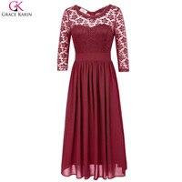 גרייס קארין ארוכה ערב תחרה אלגנטית שמלת שיפון שמלות רשמיות אירוע מיוחד אדום כחול כהה שחור שמלה למסיבת חתונה