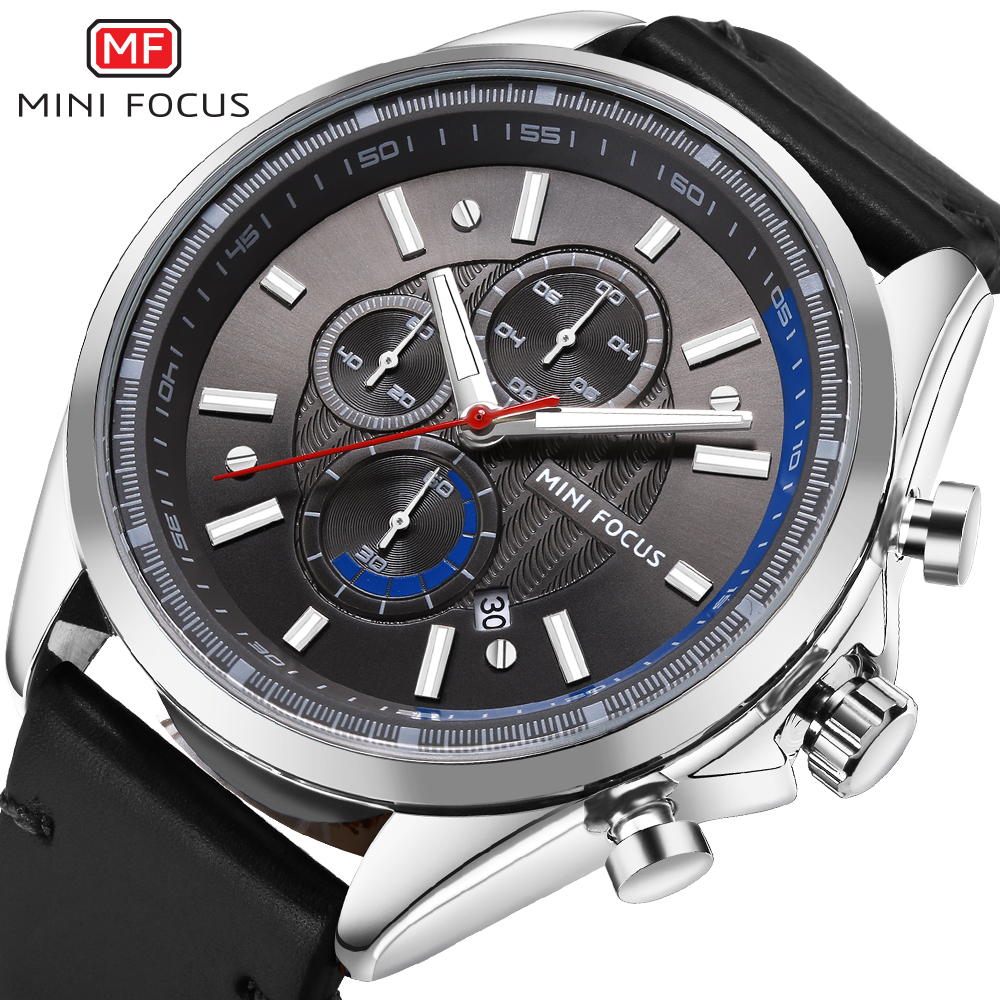 MINIFOCUS Leather Strap Sport Quartz Watch Men Luxury Waterproof Chronograph Men Watches Luminous Hands Male Clock Hodinky Men genuine jedir quartz male watches genuine leather watches racing men students game run chronograph watch male glow hands