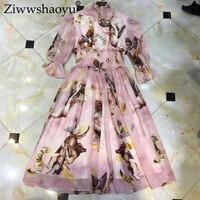 Ziwwshaoyu Europe and the United States 2019 spring and summer new dress Bohemian Turtleneck Flare Sleeve Angel print dress