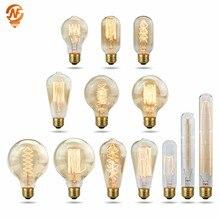 Retro edison lâmpada e27 220 v 40 w a19 a60 t10 t45 t185 st64 g80 g95 filamento ampola incandescente lâmpada edison do vintage