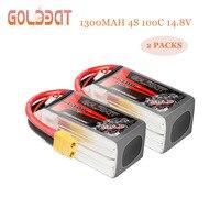 2 단위 goldbat fpv lipo 배터리 1300 mah 4s 100c 배터리 14.8 v 드론 배터리 lipo 4s 비행기 드론 fpv 레이싱 xt60 플러그