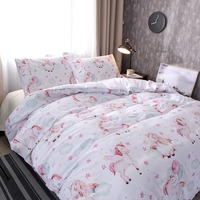 Cartoon Pink Unicorn Bedding Set Duvet Cover Set with pillow case Twin Full Queen Double Single Quilt Cover Bed Cover new 3PCS