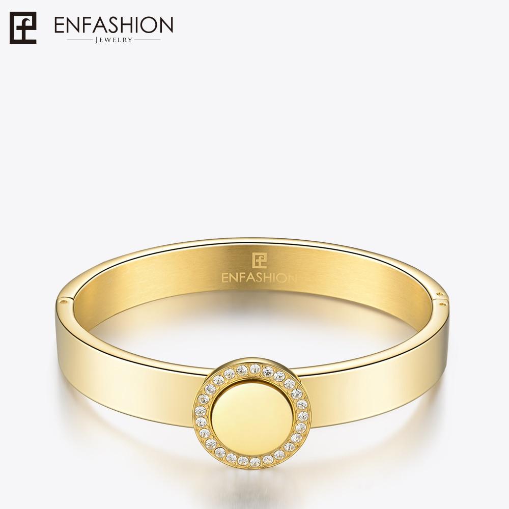 Enfashion Play Series Crystal Disc Cuff Bracelet Bangle Gold color Engrave Name Bangles Bracelets For Women DIY Jewelry 70048005
