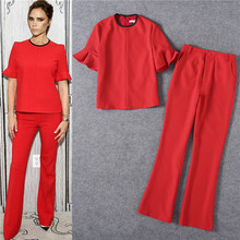 2017 summer runway designer womans clothing set red blouses and pants suit sets two pieces black long pants set victoria beckham