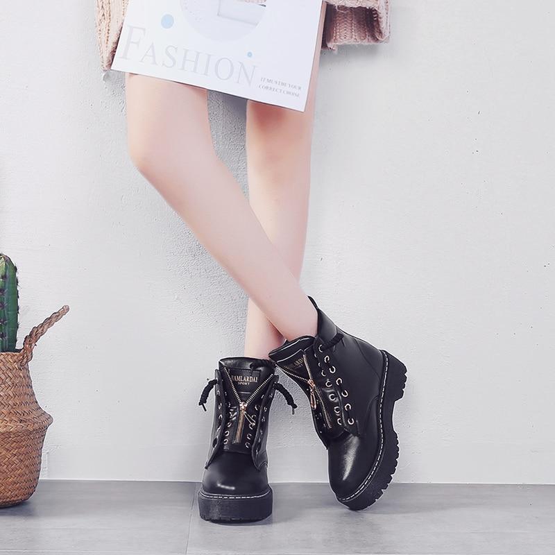 Zip rosa schwarzes Bzbfsky Beige Pu Booties Leder Motorrad Stiefeletten Schuhe Martens Winter Flache Herbst Stiefel Frau Plattform Frauen wqrXxqnCT