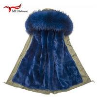 Newest Jacket Women's Winter Coat faux Fur Lined Detachable Denim Jacket Raccoon Hooded Coats Long Section Jackets Outerwear A#3