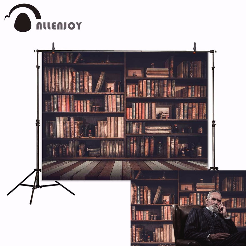 Allenjoy bookshelf background photography vintage board baby library school backdrop photocall photophone photobooth photo props