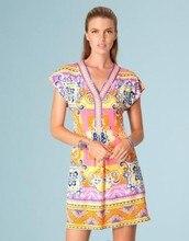 Платья для женщин времени ограниченные прямые продажи шелкового джерси flowerier печати красивые фантазии v-образным вырезом тонкий вязаный эластичный цельный платье