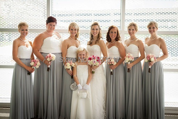 Charcoal Grey Seires Full Length Latest Style Two Tone And White Bridesmaid Dresses