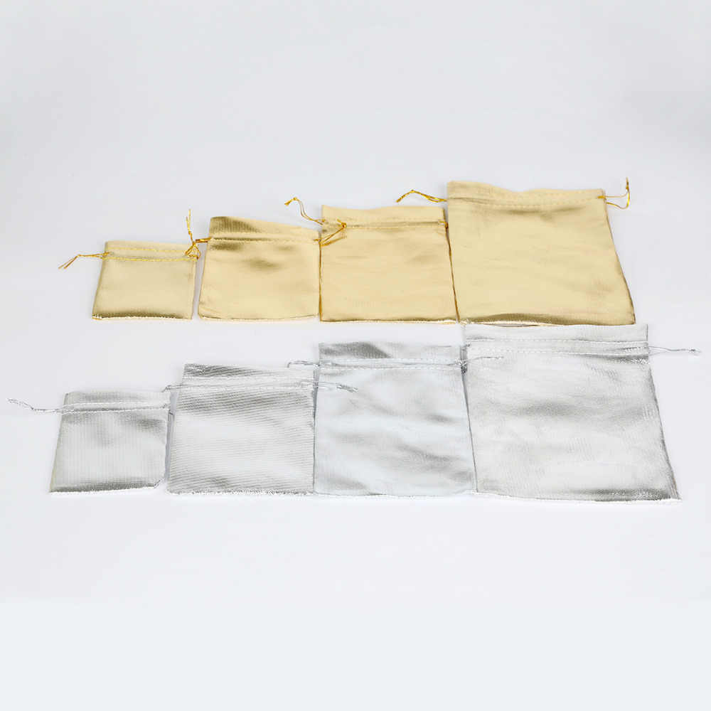 50 pcs 7x9/9x12/10x15/13x18 cm כסף/ זהב צבע אורגנזה תכשיטי אריזת תיק שרוך קטיפה תיק שקיות מתנת חתונה & שקיות