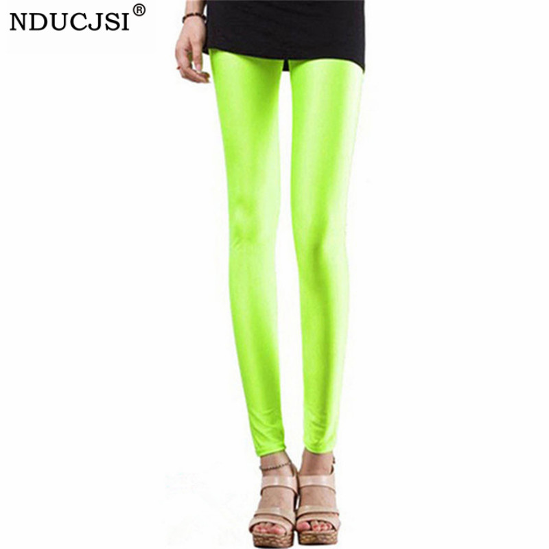 NDUCJSI Neon   Leggings   High Elastic Skinny Pants Thin Legins Workout Slim Pants Casual Spandex   Legging   Sexy Solid Candy Jeggings
