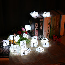 New LED Letter Light Box String Lights 26 Letters 2M 10LED Night Lamp For Party Holiday Home Decor Gift White(China)