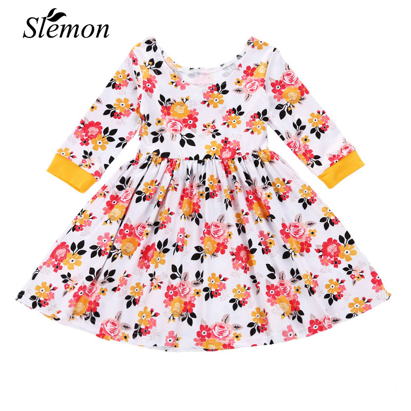 Elegant Girl Holiday Dress 2018 Kids New Spring Autumn Long Sleeve Flower Clothing Little Girls 3 4 5 6 Years Floral Party Dress uoipae girl kids dress spring 2018