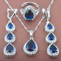 Water Drop Women's Blue  Zirconia   925 Sterlig Silver Color Jewelry Sets Necklace Pendant Earrings Rings Free Shipping TS029