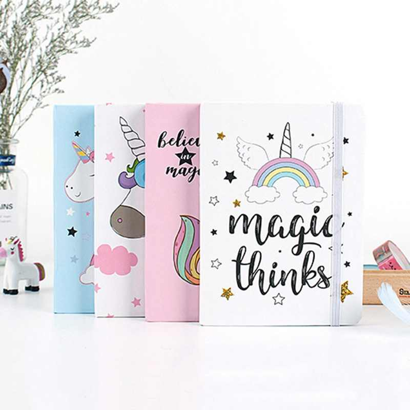 1Pc Cartoon Unicorn Hard Cover Kawaii Pupils Notepad Notebook Office Stationery Cute School Supplies Random Style