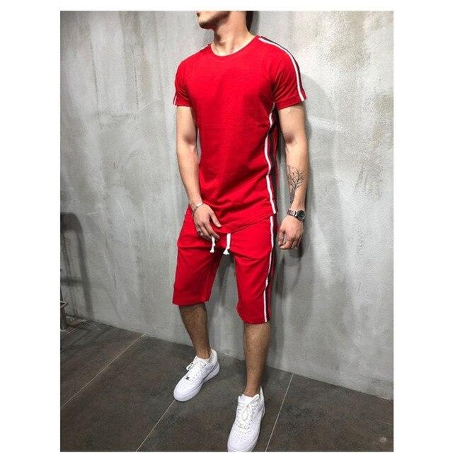 Мужская футболка из 2 предметов; летняя хлопковая футболка с короткими рукавами; шорты; спортивный костюм