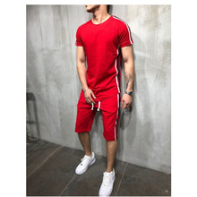 Mens tshirt 2 piece summer cotton short sleeved T shirt/shorts track and field suit