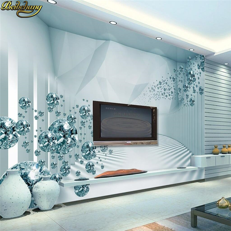 beibehang Custom photo wallpaper large mural wall stickers 3d 3d space sense modern fashion crystal ball TV wall