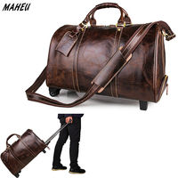 Men's High Quality Genuine Leather Travel Trolley Case Large Fashion Luggage Bags Real Leather Cow Leather Weekend Bags