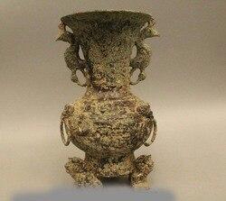 """11 """"Starożytnej Chińskiej Dynastii Pałac Stare Brązu Bestia Ptak Kwiat Bottle Vase Pot pot pots vasespot flower -"""
