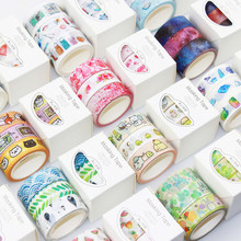 BLINGIRD 3 Rolls Boxed Japan Easy Washi Tape Gift Box Various Styles Selection Suitable for Decoration