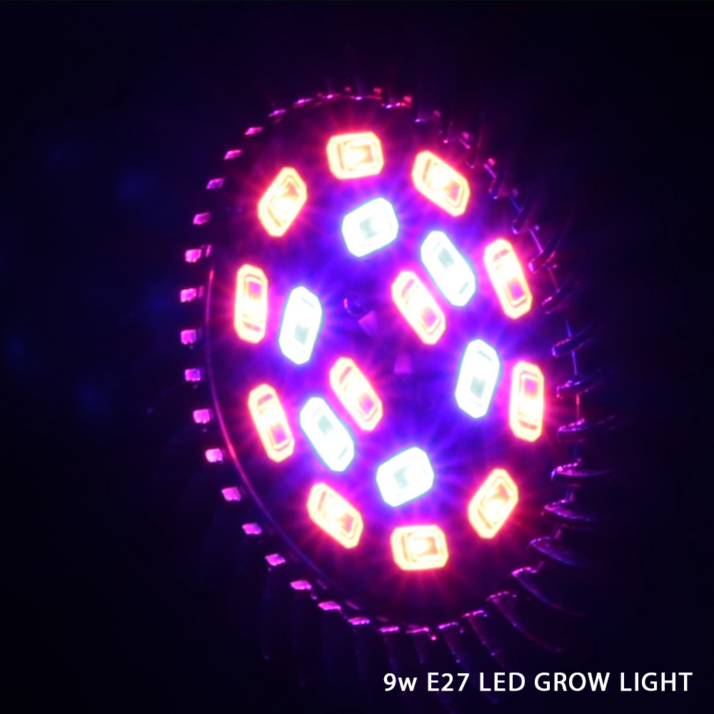 2pcs full spectrum led grow lights bulbs E27 9W For Hydroponics and Small Plants High Quality LED Grow light full spectrum