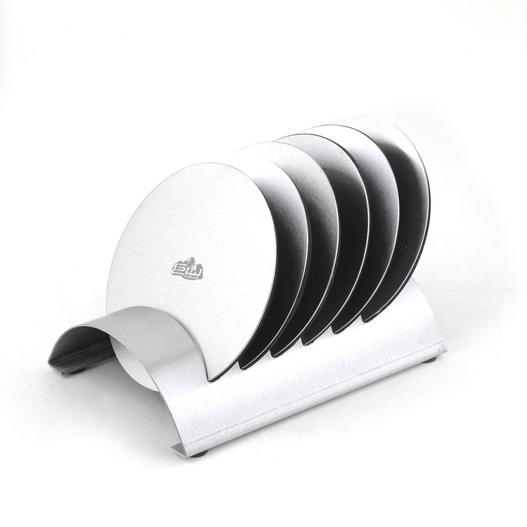 1set Exquisite classic round 304 stainless steel wine coasters creative bowl pad mat 6pcs coasters+1pc shelf KJ 3011