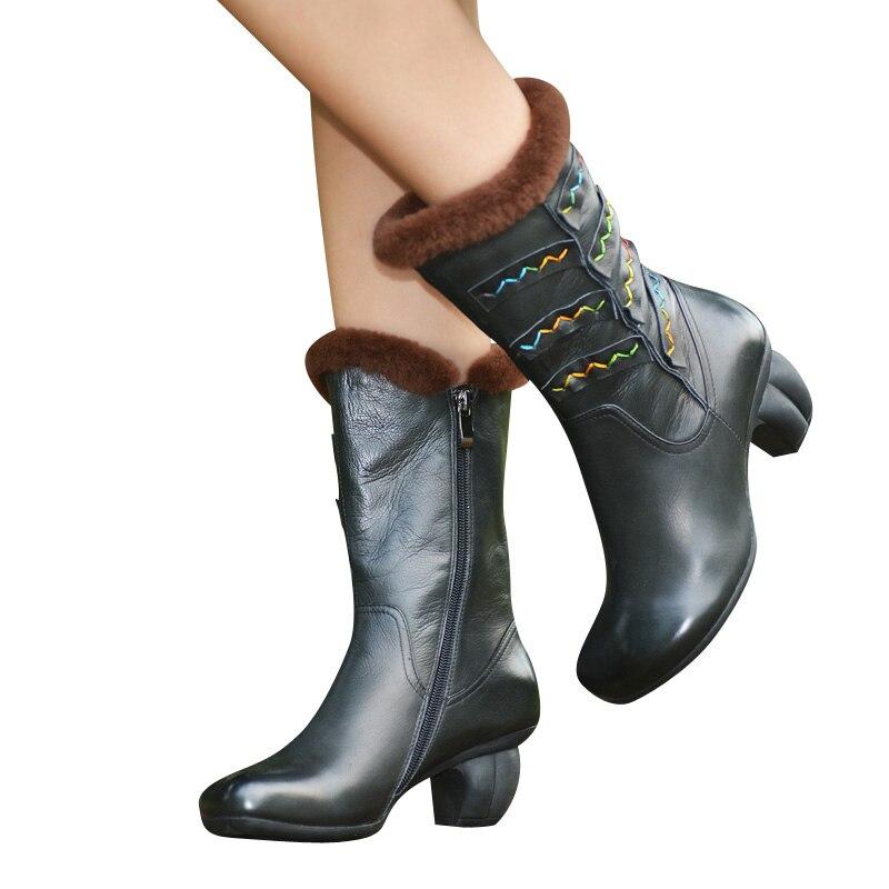 Cómodo becerro Casual Mediados Alto Marca Zapatos Terciopelo De Botas Caliente Mujeres Xiangban Invierno Tacón tzFTdq8Tw
