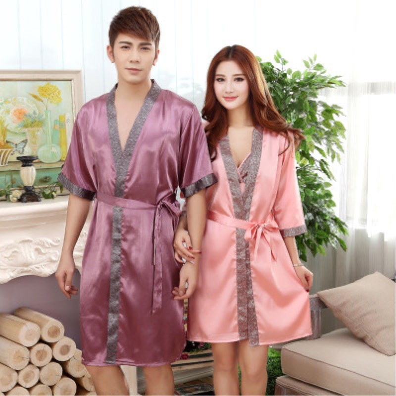 16a4e62c9d Summer Satin Silk Couple Robes Men and Women Faux Silk Short Sleeve Sexy  Thin Bathrobe Hotel Bath Robe for Couple -in Robe   Gown Sets from  Underwear ...