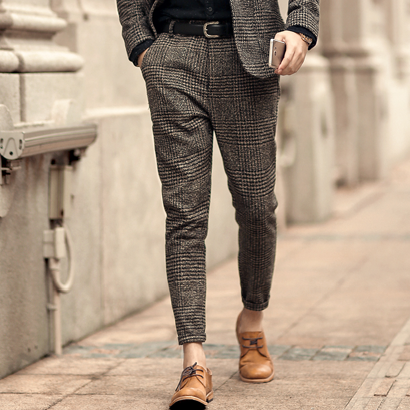 New Winter Men's Casual Grey Plaid Woolen Button Slim Stretch Long Pants Men Trousers Italian Style Fashion Brand Design K681-2