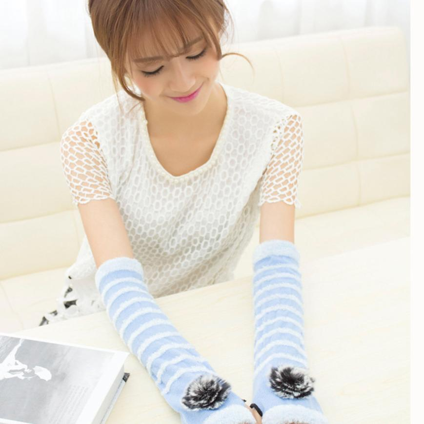 Women Fashion Knitted Arm Warmers Fingerless Winter Gloves Soft Warm Mitten Wool Fingerless Gloves Long Thermal Sleeve Mittens