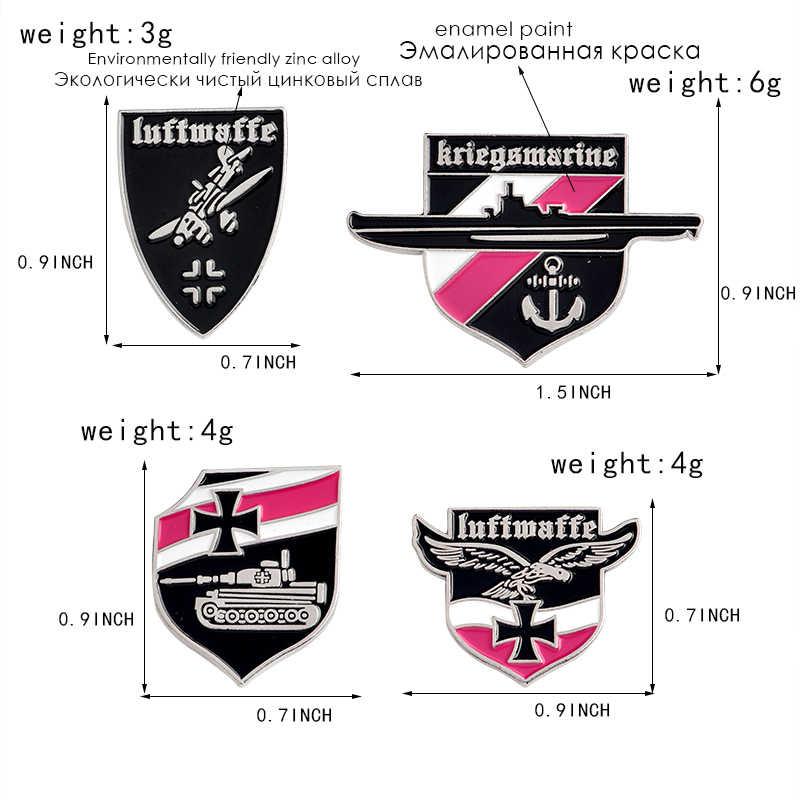 Logam WW2 Perang Dunia II Militer Jerman Kerah Pin Tentara Kerajaan Eagle Pin dan Lencana Enamel Logam Luftwaffe Lencana Bros