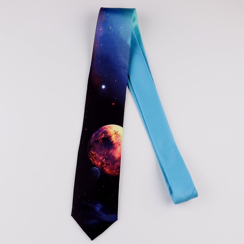 Design Creative Print Tie Boys And Girls Party Birthday Youth Gift Trend Personality Blue Planet Tie