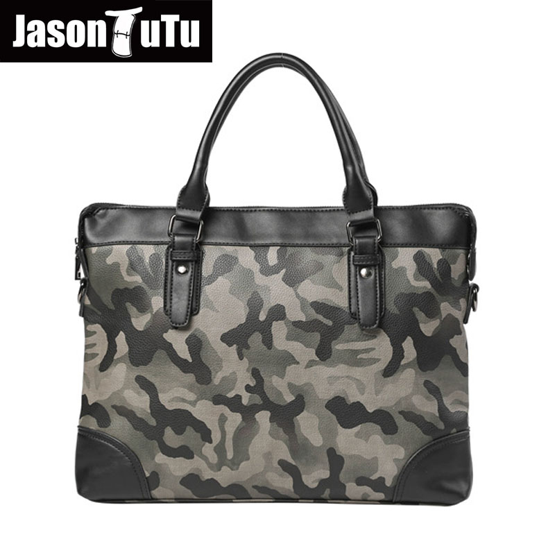 JASON TUTU Camouflage PU leather male handbag Crossbody Messenger Bag Shoulder Bags Business Work Briefcase Carry Laptop B446 vktery handbag men satchel pu leather male messenger crossbody bag business solid brown tote briefcase sling shoulder bags 3021