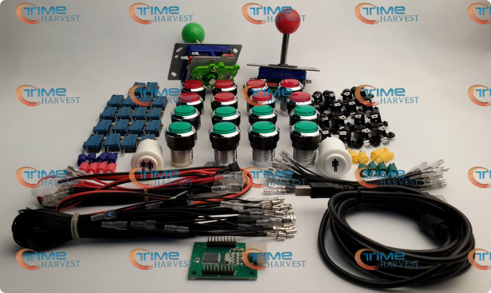 ФОТО Arcade parts Bundles kit With red & green Joystick + red & green silver buttons Microswitch 2 player USB adaptor for Arcade cab