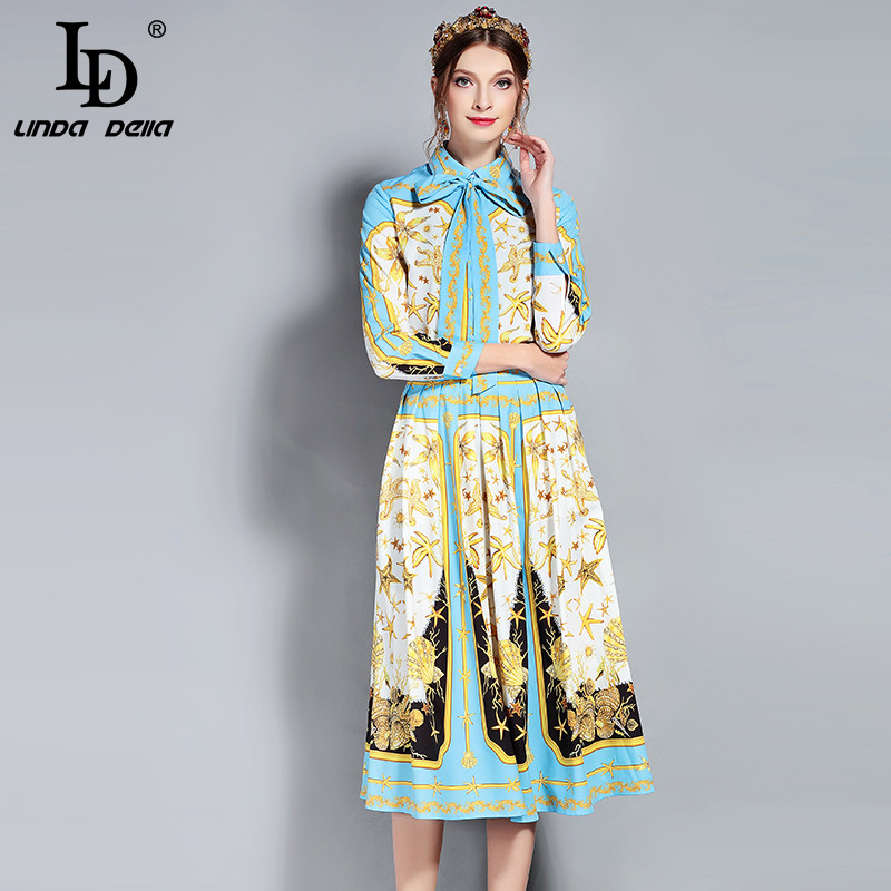 LD LINDA DELLA New Designer Runway Suits Set Women's Long Sleeve Bow Collar Print Blouse and Vintage Skirt Two Piece Set-in Women's Sets from Women's Clothing    1