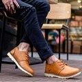 LIN REI Homens Sapatos Baixos Sólidos Dedo Do Pé Redondo Pu Lace-up massagem Tornozelo Curto Sapatos de Caminhada Outono Sola Grossa Retro Lazer sapatos