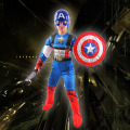 Children Avengers Captain America Muscle Costume Halloween Superhero Cosplay Boy Gifts Fancy Dress Outfit with Mask + Shield