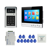 Free Shipping 7 LCD Screen Video Door Phone Intercom System Recorder Monitor Touch Panel RFID Code Keypad Unlock Outdoor Camera