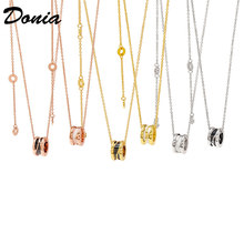 Donia Jewelry Fashion Titanium Steel Necklace Letter Maze Necklace Hollow Black and White Ceramic Necklace Beautiful Gift(China)