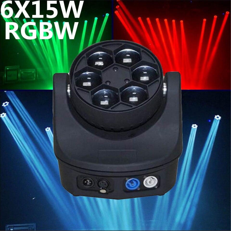 Led mini abeja ojo led cabeza movil haz de luz dj efecto de luz 6x15 w rgbw 4in1 led de la lampara 1015ch