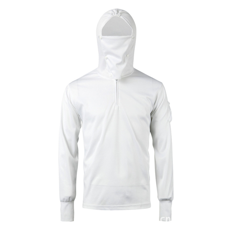 Best Cheap Fishing Tshirt Long Sleeve Clothing Sun Protection Shirts With Cap For Men Women Boys Kids Wholesale Price-White