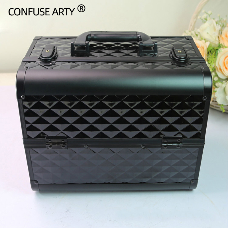 High-capacity Multi-functional Portable Cosmetic Bag Aluminum Alloy Fire Panel Professional Cosmetic Case Makeup Collection Box