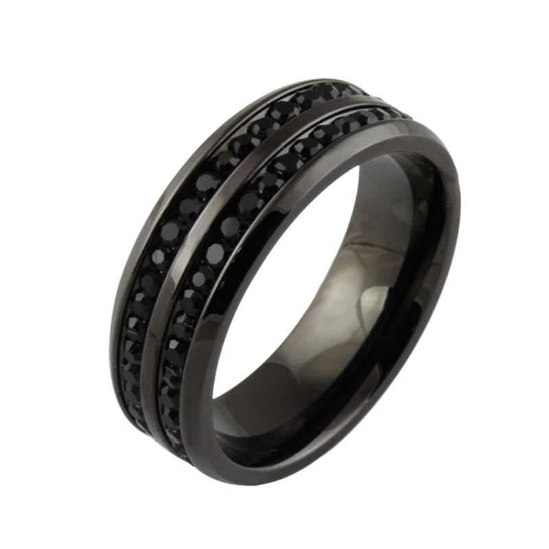 kuniu classic mens jewelry black crystyal rings stainless steel wedding ring fashion engagement ring free shipping - Black Wedding Rings For Men