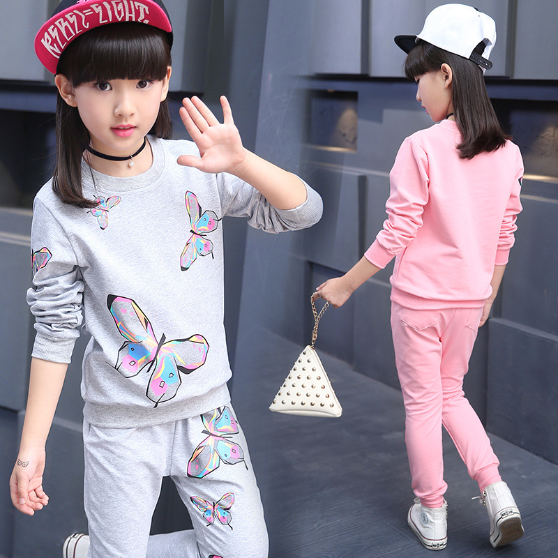 2017 Spring and Autumn Childrens Girls Butterflies Long Sleeves Sets Thin Cotton Girls Set2017 Spring and Autumn Childrens Girls Butterflies Long Sleeves Sets Thin Cotton Girls Set